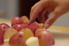 Potatoes 3. A hand picking up a cut red potato from a group of them royalty free stock photos