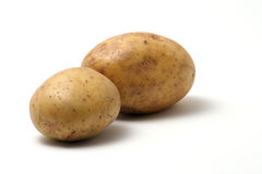 Potatoes. 2 potatoes on a white background with one being the main focus Stock Photography