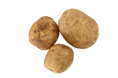 Potatoes. Three organic potatoes on white background Royalty Free Stock Photography