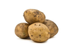 Potatoes. Isolated on white background Stock Photos