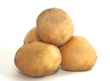 Potatoes. New potatoes on white background stock image