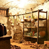 Potatoes ang cabbage in the vault. Potatoes ang cabbage in the basement of country house Stock Images