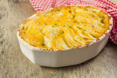 Potatoes Au Gratin. Baked cheesy potatoes au gratin scalloped potatoes royalty free stock images