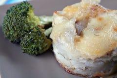 Potatoes Au Gratin and Broccoli. Dinner dish Royalty Free Stock Photo