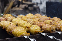 Potatoes with bacon on skewers. Potato with bacon on skewers cooked at the stake Royalty Free Stock Images