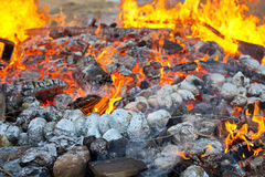 Potatoes baking in a bonfire. Baked potatoes covered with aluminum foil roasting in a Lag Baomer bonfire with orange flames and firewood in a secular suburb of Stock Image