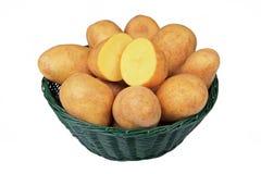 Potatoes in basket Stock Photo