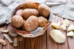 Potatoes in a basket on a napkin Stock Image