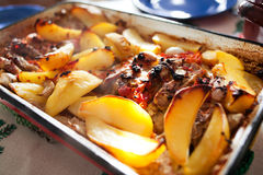 Potatoes with beef steak Stock Image