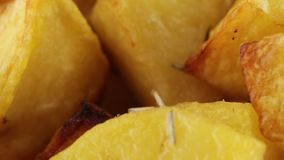 Potatoes cooked in the oven. Potatoes bio cooked in the oven for restaurant food stock video