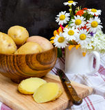 Potatoes boiled in their jackets. New potatoes boiled in their jackets Royalty Free Stock Image