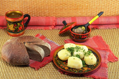Potatoes and bread and mushrooms Royalty Free Stock Photos