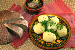 Potatoes and bread and mushrooms Royalty Free Stock Photo