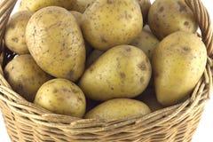 Potatoes in brown wicker basket  closeup Royalty Free Stock Photo