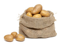 Potatoes in burlap bag Royalty Free Stock Photography