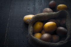 Potatoes in the canvas bag  on the wooden table horizontal Stock Images