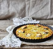 Potatoes and  cheese quiche. Potatoes and goat cheese quiche Stock Image