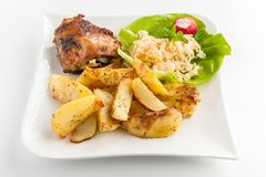 potatoes and chicken Royalty Free Stock Images