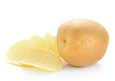Potatoes and chips on a white background Stock Photo