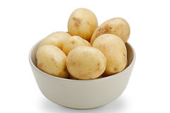 Potatoes (with clipping path). Potatoes in bowl on white background Stock Photography