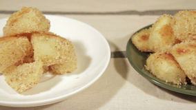 Potatoes with a crispy crust with rosemary stock video