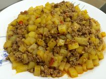 Potatoes cube with minced beef Stock Photos