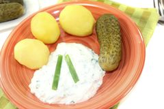 Potatoes with curd and chives Royalty Free Stock Photo