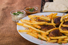 Potatoes with cutlets of meat Stock Photos
