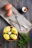 Potatoes, dill, salt shaker and forks. Royalty Free Stock Photo