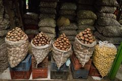 Potatoes Displayed at the Paloquemao Market Bogota Colombia. Bags of potatoes on display at the Paloquemao t and Vegetable Market located in Bogotá, Colombia royalty free stock images