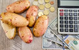Potatoes, dollars, calculator and coins on a wooden table. View from above. royalty free stock photos