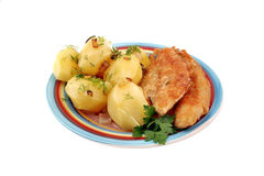 Potatoes with fish Royalty Free Stock Image