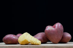 Potatoes in the form of heart Royalty Free Stock Images