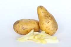 Potatoes and French fries. Two potatoes and French fries Royalty Free Stock Photo