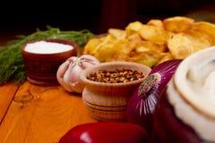 Potatoes fried in lard Stock Image
