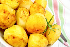 Potatoes fried on plate with napkin Royalty Free Stock Photography