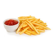 Potatoes fries with ketchup close-up isolated on white background. Stock Image