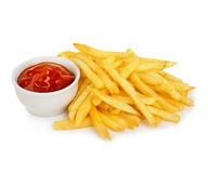Potatoes fries with ketchup close-up isolated on a white background. Stock Images
