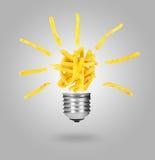 Potatoes fries like lamp bulb, foob concept Royalty Free Stock Photography