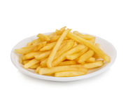 Potatoes fries in the plate close-up isolated on a white background. Stock Image