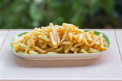 Potatoes fries in the plate Royalty Free Stock Images