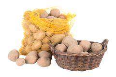 Free Potatoes In A Bag And A Basket Stock Images - 29625024