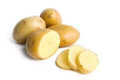 Potatoes isolated on white. Some yellow potatoes isolated on white background Stock Images