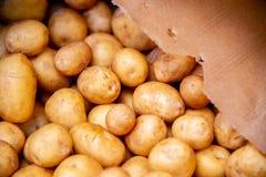 The potatoes at the market display. Potatoes at the market display stock photos