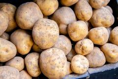 The potatoes at the market display. Potatoes at the market display royalty free stock photos