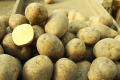 POTATOES IN THE MARKET. For sale Stock Image