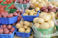Potatoes market Stock Photos
