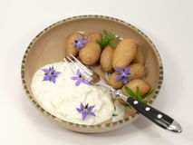 Potatoes meal. With herb quark stock photography