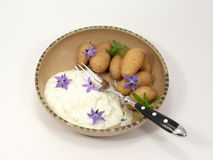 Potatoes meal. With herb quark royalty free stock image