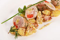 Potatoes with meat in sauce pepper Stock Images